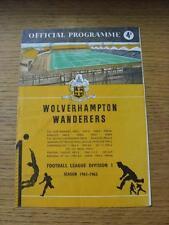 09/12/1961 Wolverhampton Wanderers v Sheffield Wednesday  (Creased, Folded, Scor