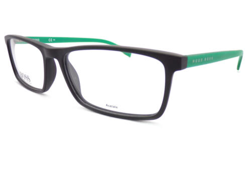 HUGO BOSS Matte Black Green Reading Glasses +0.25 to +3.50 57mm 0765 RJR