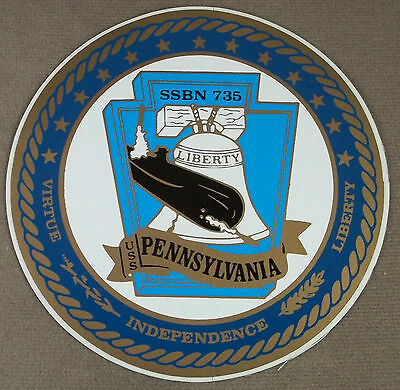 "Sticker Uss Pennsylvania Ssbn-735 4 1/2"" Diameter Dashing Us Navy Decal"