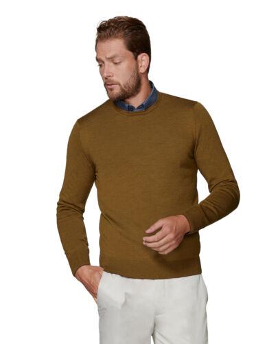 T.M.Lewin Mens Romney Merino Wool Mustard Crew Neck Slim Fit Jumper