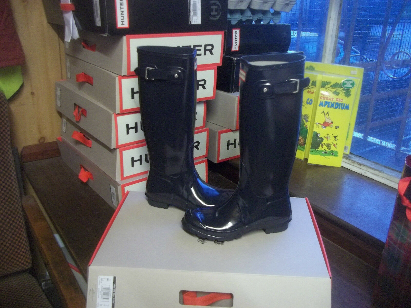 Navy Blue Hunter Gloss Hunter Blue Stivali Di Gomma Wellies a Halifax Taglia 4 donna alte da donna 9498b9