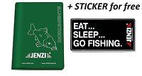 JENZI Angel Ausweis Mappe Angelschein Fischereischein, Schutzhülle+free sticker