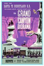 "DISNEY COLLECTOR'S POSTER 12"" X 18"" - DISNEYLAND - SANTA FE RR GRAND CANYON"