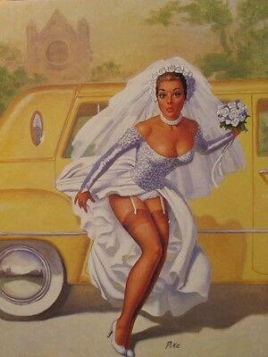 Pinup Girl Calendar Art Print June Bride Almost Wore White by Artist Pike Mint !