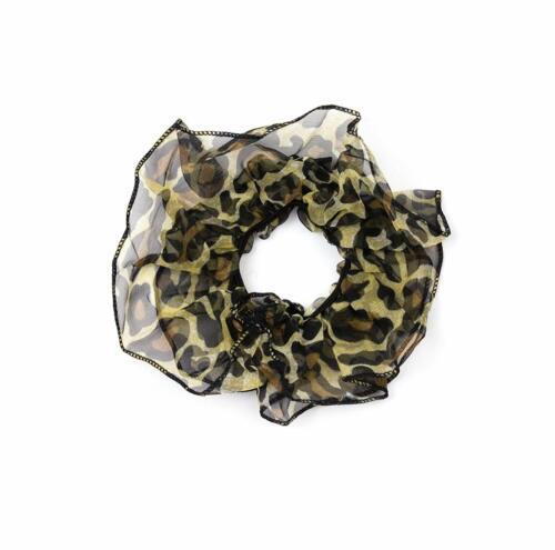 Chiffon Ruffles Leopard Print Hair Scrunchie Ponytail Holder Elastic Hair Band