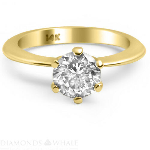 0.45 CT Yellow gold 14K Enhanced Diamond Ring SI1 D Round Cut Engagement Ring