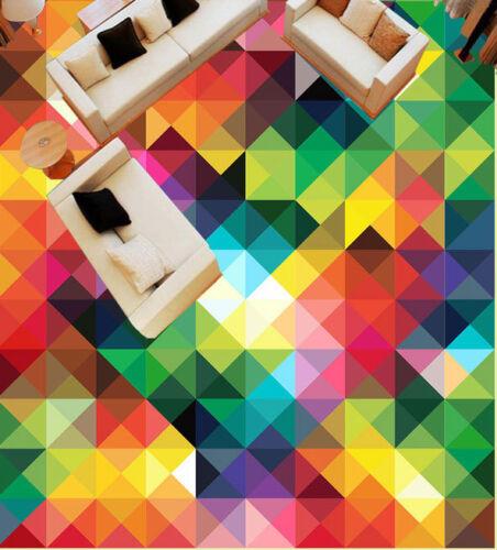 Geometric Rainbow Color Trangle  Floor Decals 3D Wallpaper Wall Mural