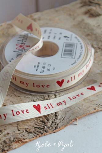 1,95€//m Dekoband Berisford ♥ all my love ♥ rot Shabby Landhaus Hochzeit Liebe