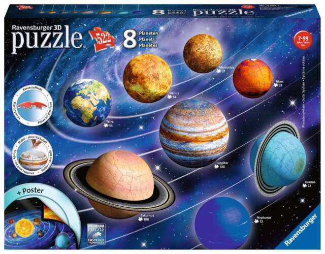 New Ravensburger Planetary Solar System 3D Space Planets Jigsaw Puzzle 522pc