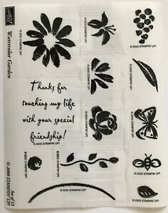 Stampin Up Watercolor Garden 13 Rubber Stamps Flower Butterfly Friendship