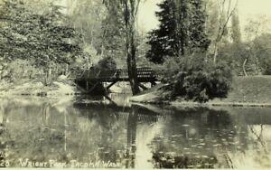 Vintage RPPC Pond & Bridge in Wright Park, Tacoma, WA Real Photo Postcard P72