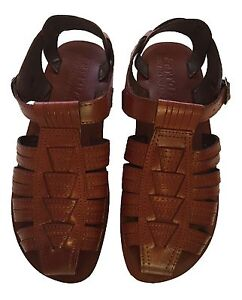browse latest collections top-rated cheap new products Details about Men Fisherman Leather Sandals Brown Biblical Shoes Jesus Flip  Flops Sizes 7-12½