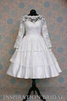 1518 short wedding dress 50s 60s Tea Length knee Sleeves  11317 vintage lace