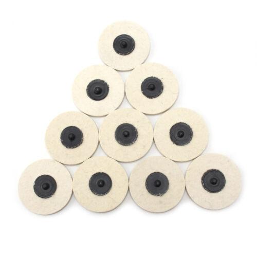 10Pcs Roloc Style 3 Wool QC Disc Polishing Buffing Pads Wheels