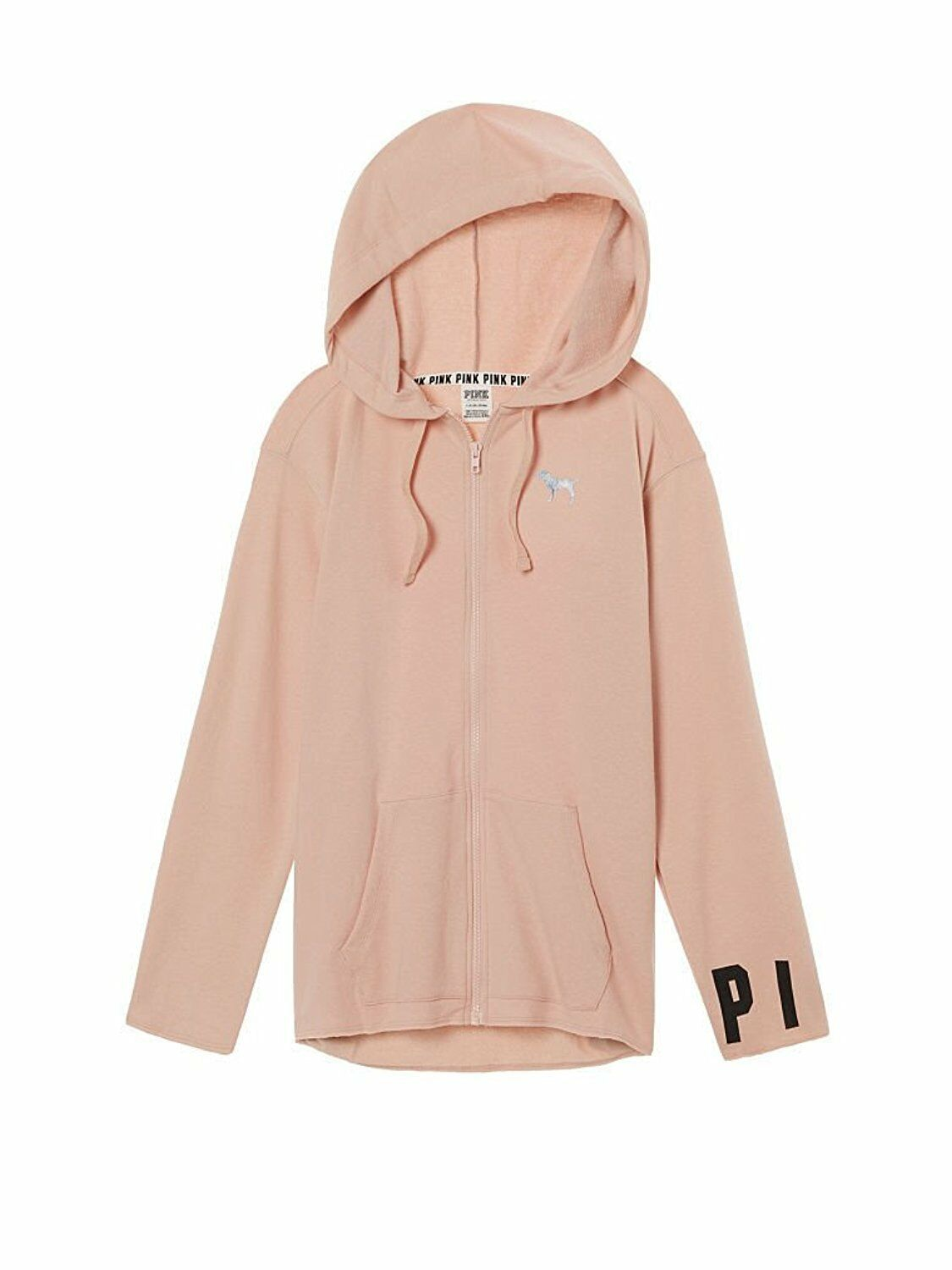 VICTORIA'S SECRET Pink NEW SIDE SLIT FULL-ZIP Hoodie color Ballet Pink Small