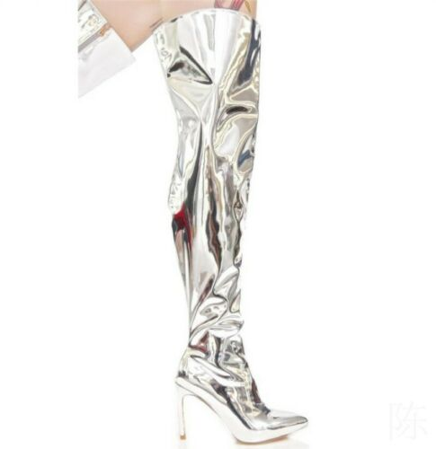 Women Metallic Mirror Pointy Toe Thigh High Heel Over The Knee Boots Size 34-48