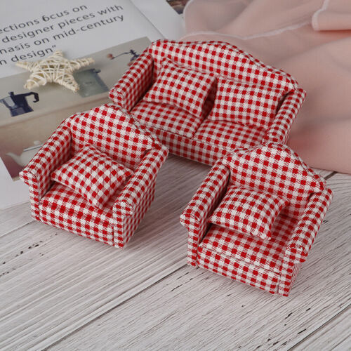 3Pcs 1//12 Dollhouse Furniture Miniature Craft Wooden End Sofa Set Model DecorTOC