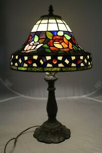 Vintage-1960s-70s-Era-Leaded-Stained-Art-Glass-Dome-Shade-Electric-Table-Lamp