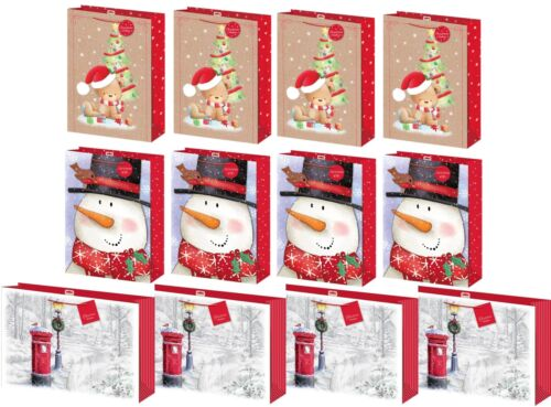 Set of 12 Extra Large Christmas Gift Bags with Rope Handle /& Tag Mixed Designs