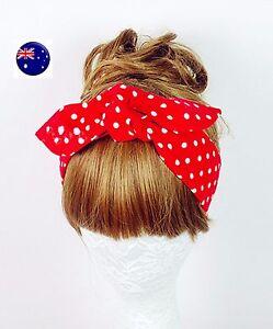 Women-Girl-Retro-Vintage-Boho-bohemian-Polka-Dot-bow-scarf-Hair-head-band-tie-up