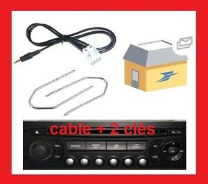 cable auxiliaire aux adaptateur mp3 peugeot 207 12pin rd4 ps4 2cles extraction ebay. Black Bedroom Furniture Sets. Home Design Ideas