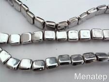 25 6 x 6 x 3 mm CzechMates Two Hole Tile Beads: Silver