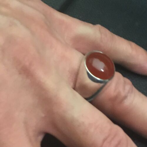 15MM CARNELIAN CABOCHON SIZE 9 1//2 MJG STERLING SILVER MAN/'S RING