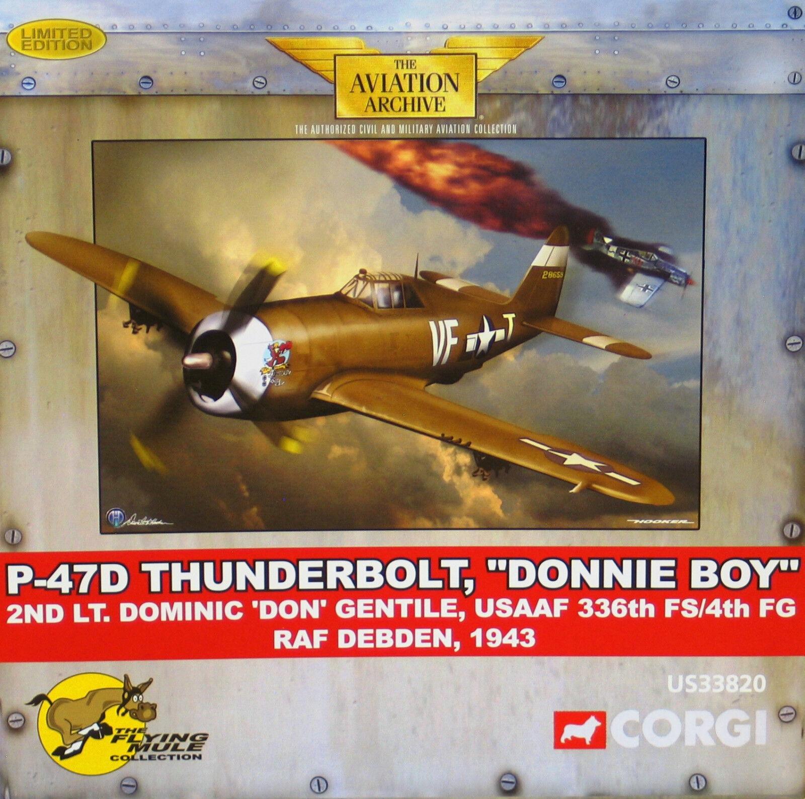 US33820 Corgi P-47 Thunderbolt,'Donnie Boy' 2° Lt. Dominic Gentile 482/750 Nuovo