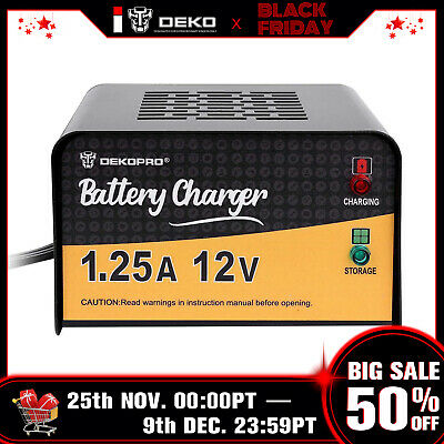 DEKO 12 Volt 1.25 Amp Smart Battery Maintainer Charger for Motorcycle Car Truck