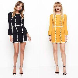 f31e45fe86 Womens Designer Alice McCALL Tunic Knit Mini Frill Ruffle Dress 60s ...