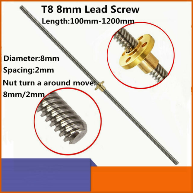 100-1200mm T8 Lead Screw and Brass Nut 2mm Pitch 8mm Lead for 3D Printer Z Axis