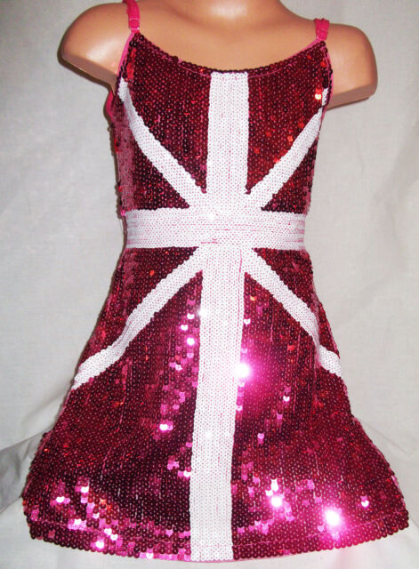 GIRLS BRIGHT PINK & WHITE UNION JACK PATTERN SEQUIN EVENING DANCE PARTY DRESS