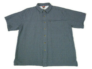 The-North-Face-Mens-Large-Shirt-Short-Sleeve-Button-Front-Zip-Pocket-Blue-Plaid