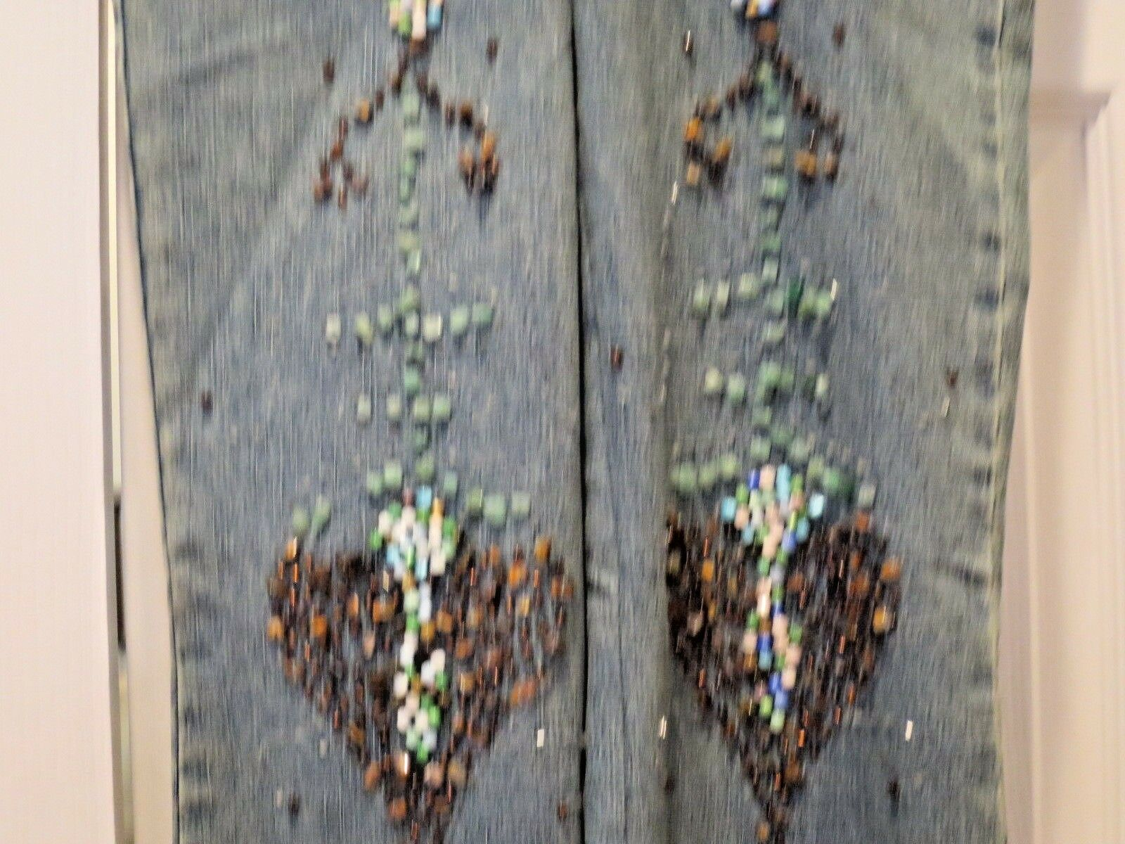 Denim Jeans Stone & Bead  Embellished Size Small 100% Cotton