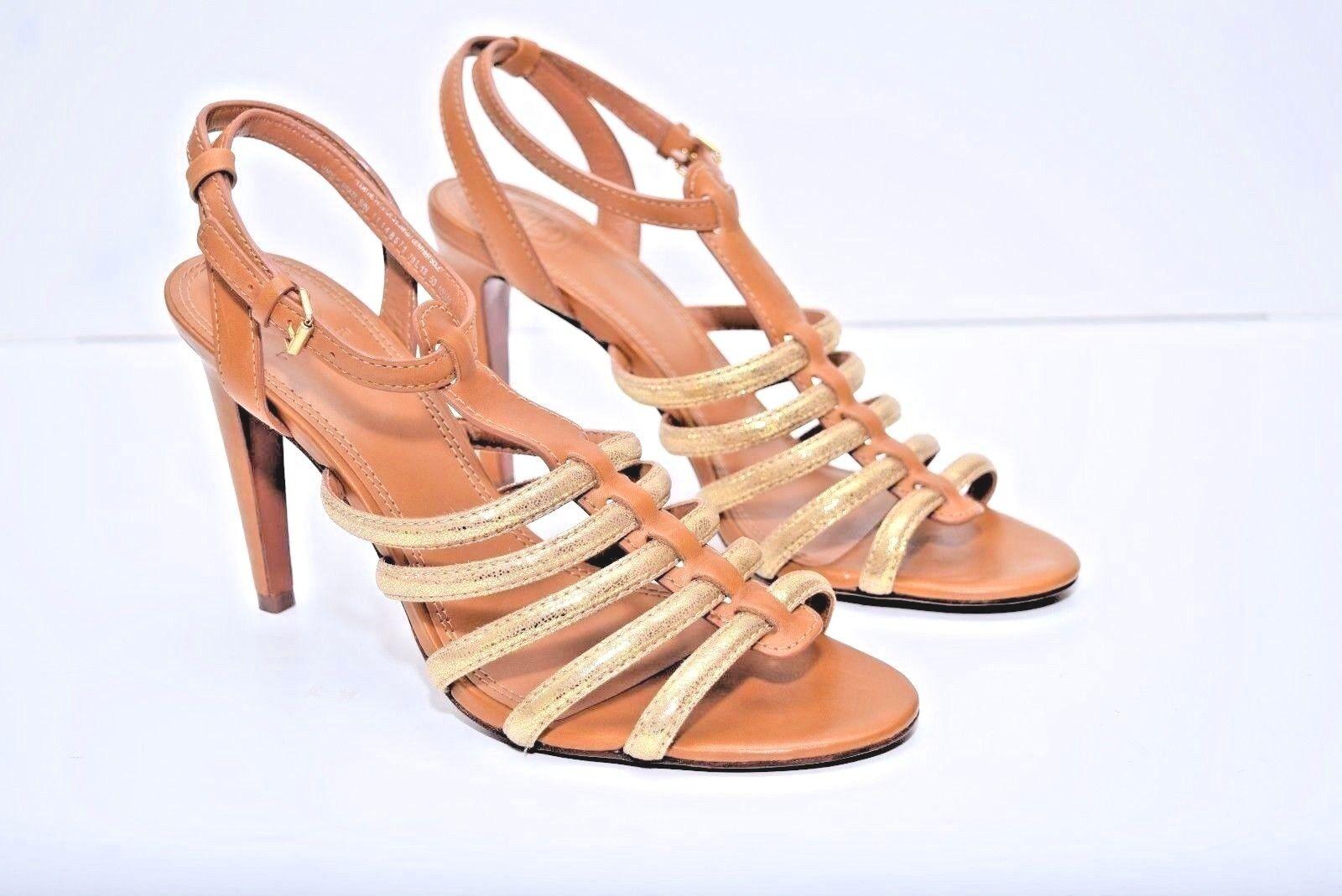 Nuevo Sin Caja Tory Burch Mujer Cuero Cuero Cuero Marrón oro Sandalias Zapatos Talla 10.5M b9c12c