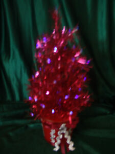 Details About Table Top 14 Inch Red Pre Lit Fiber Optic Tinsel Christmas Tree