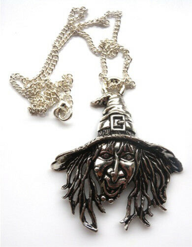 Stunning Large Witch Pendant 50mm Halloween Necklace with a gift bag