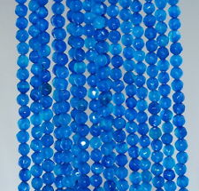 """4MM  AGATE GEMSTONE BLUE FACETED ROUND LOOSE BEADS 15"""""""