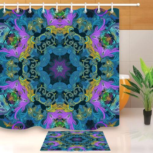 "Mandala Hippie Shower Curtain Set Waterproof Fabric Liner 71X71/"" Polyester Sheer"