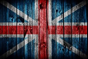 A1-Union-Jack-Poster-Art-Print-60-x-90cm-180gsm-Wood-Effect-Flag-Gift-8312