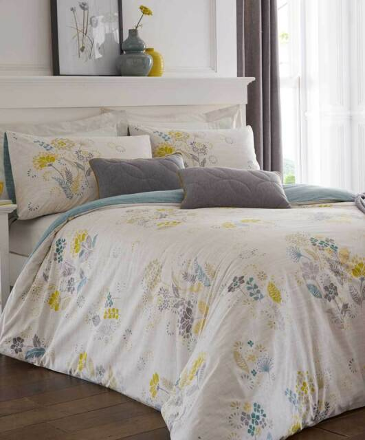 Reversible Modern Leaf Print Double Duvet Cover Bed Set Lime Green and Grey