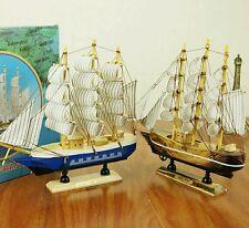 Mediterrane Sailor's Wooden Sailing Wealth Ship  Feng Shui  Lian Hua Height 24cm
