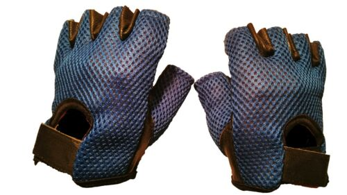 Leather Blue Mesh Padded Gloves Weight Biking Cycling Gym Training Fitness.