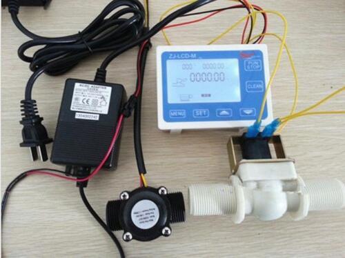 """Sensor De Flujo Adaptador de Alimentación de la válvula de solenoide Nuevo Medidor de LCD de control de flujo de agua 1/"""""""