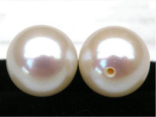 A pair 8-8.5mm real natural Akoya white perfect round loose pearl half drilled