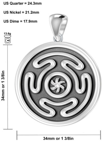 New 0.925 Sterling Silver Greek Wheel of Hecate Pendant Necklace