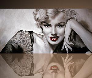 Monroe QUADRO SU TELA 50x70 cm STAMPA MARILYN BIANCO NERO VINTAGE SOGGIORNO