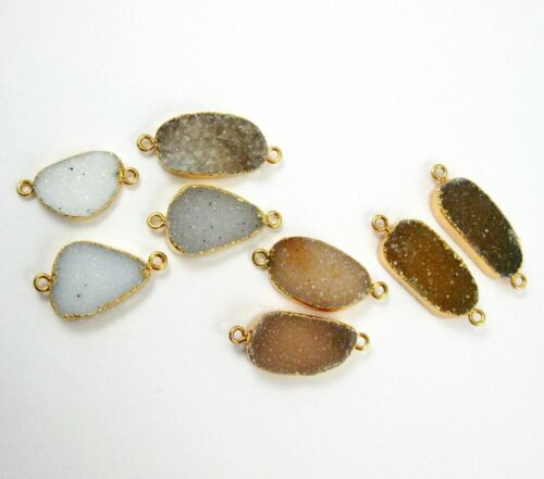 Druzy Gem Pendant Nature Druzy Agate Oval Bar Connector Organic Oval Gold Dip