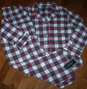 2ba261de8aa76 NWT Ralph Lauren Cream Red Black Blue Plaid FLANNEL Pajama Shirt ...