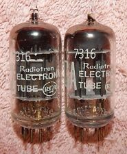 RCA NOS TUBES TYPE 7316 MATCHED PAIR BLACK PLATE FOIL GETTER PREMIUM 12AU7 ECC82